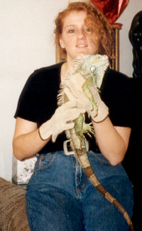 Photo of Kim with Iguana